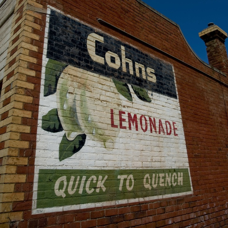 Cohn's lemonade cordial advertising sign, hand painted by Bendigo signwriter Frank Barr about 1954.