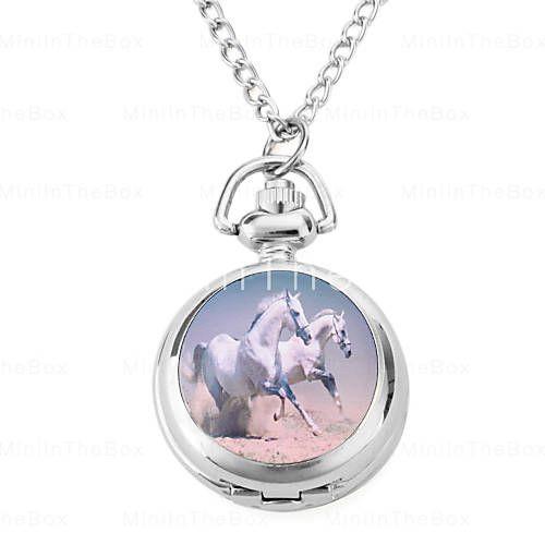 Relógios de quartzo Colar com cavalo (prata)