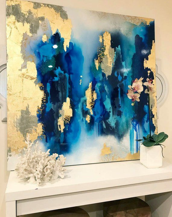 """Sold! Large Abstract Art Large Canvas Painting Royal Blue White Gold Leaf Glitter with Resin48 """"x 48"""" real gold leaf Large painting"""
