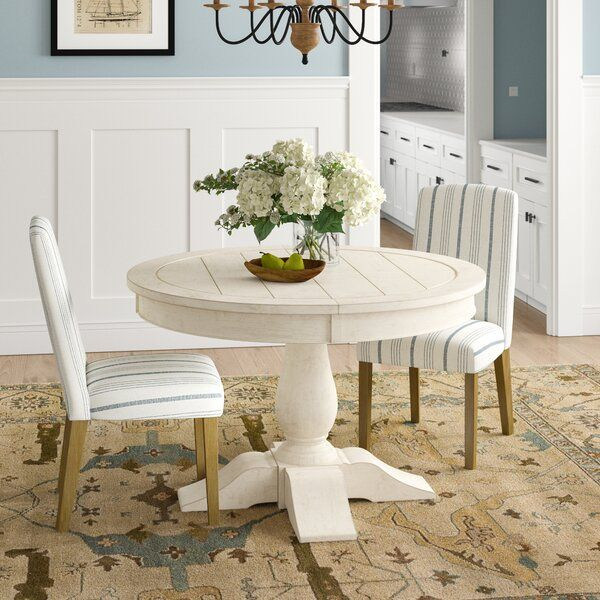 This Round Extendable Dining Table Brings All The Farmhouse Vibes To Your Dining Room Or E In 2020 Extendable Dining Table Wood Dining Table Rustic Round Dining Table