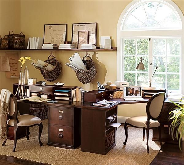 Home Office Design, Office Decorating With Brown Background: Unique  Decorating For Small Office