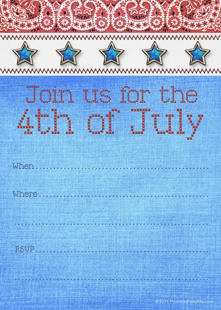 Free Printable 4th Of July Party Invitation In 2020 Free Printable Party Invitations Party Invitations Printable Party Printables Free