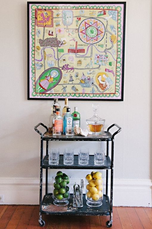Meg Galligan Home Tour // bar cart // photography by Andi Hatch // styling by Meg Galligan