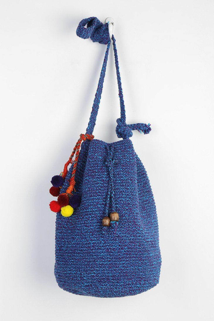 "Crochet Bag SIZE - Length: 12"" - Width: 7"" - Height: 12"" - Strap Drop: 20"""