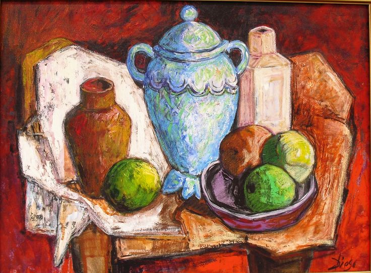 #DiegoVoci™ - PAINTING OF THE WEEK OCT 17, 2012 As our eyes walk thru this painting, the strength of impressionistic strokes takes hold of the foundation in this still life. A turn of contrasting colors, the sharpness of lime green to lavender purple brings out the vibrancy of the earth tones. The finale is the strong use of abstract light not highlighting one particular object but all feel important to the other... - Lisa Camargo http://www.artifactcollectors.com