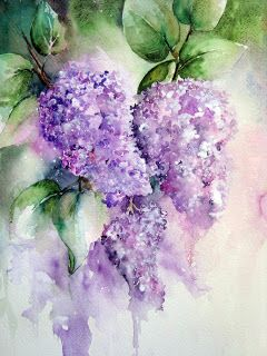 lilacs done in watercolor. Click on image for a few tutorials | Цветы | Pinterest | Lilacs, Watercolor and Acrylics