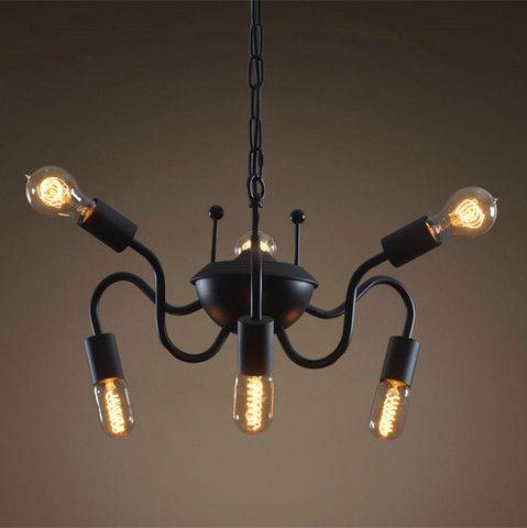 Westmenlights Industrial Spider Ceiling Chandelier 6 Lights Hanging Chain Spider Edison Ceiling lights