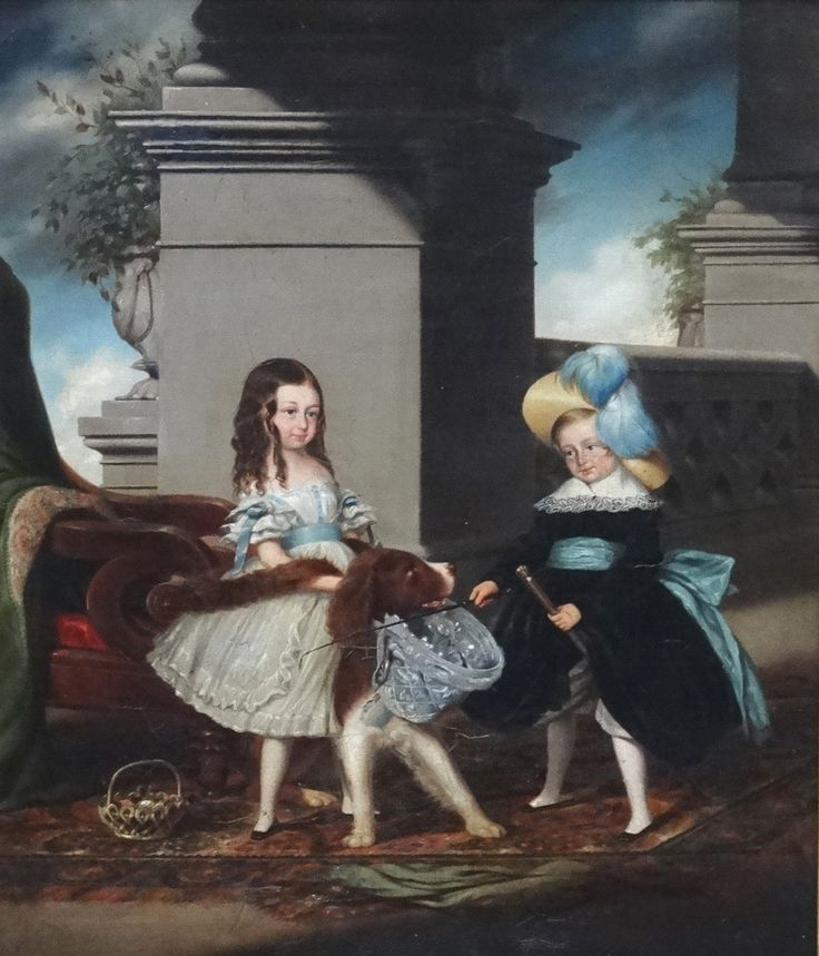 """Lot 163: W.#Melville 1844 Mid #Victorian English School, Oil on canvas, Two Victorian #children with their pet #dog at a country house, Signed and dated 1844 verso to canvas, 15 x 13"""" In ornate gilt frame."""