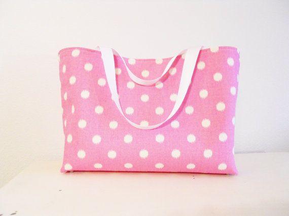 Pink Polka Dot Waterproof Tote Pink Diaper Bag Pink by RuffledSwan, $75.00
