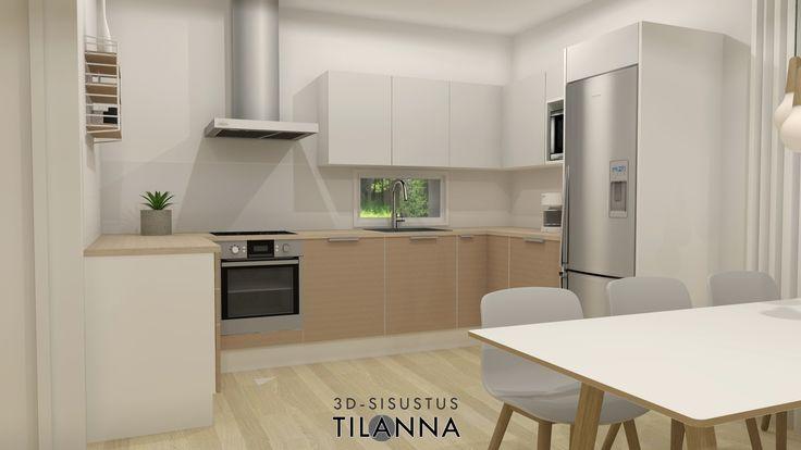 3D-visualisointi ennakkomarkkinoinnissa olevaan uudiskohteeseen/ moderni - skandinaavinen keittiö/ Kone ja Rakennuspalvelu Kara Oy, Paimio/ 3D-sisustus Tilanna