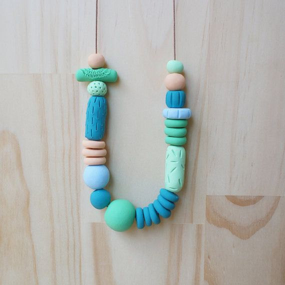 Ena and Albert- Almond, sky, spring & teal  handmade using polymer clay, waxed cotton, handmade beads, waxed cotton cord, cord, brown cord