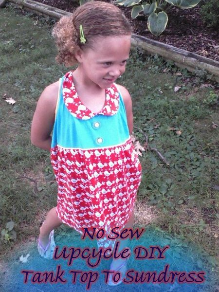 Upcycle DIY: No Sew, Turn An Old Tank Top Into A Little Girls Sundress - http://couponingforfreebies.com/upcycle-diy-tank-top-into-sundress/