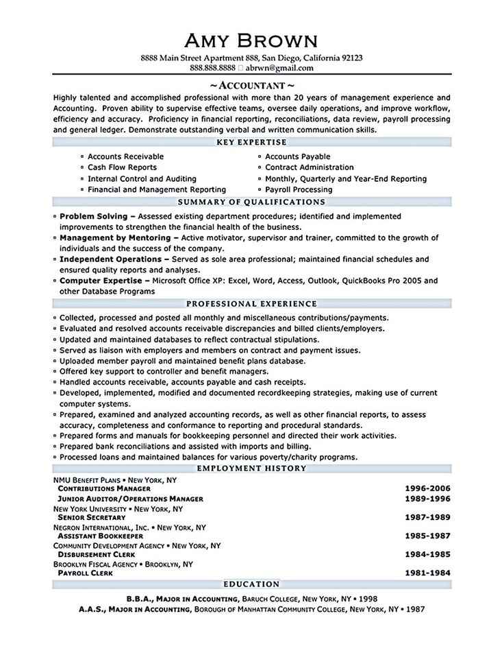 11 best Work images on Pinterest - sample accounting resume
