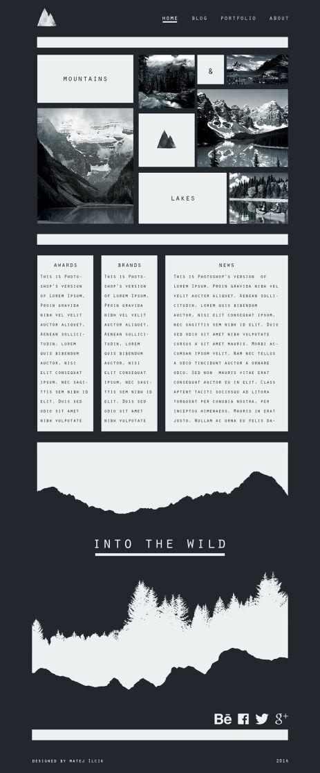 flat web design by Matej Ilcik into the wild theme design concept
