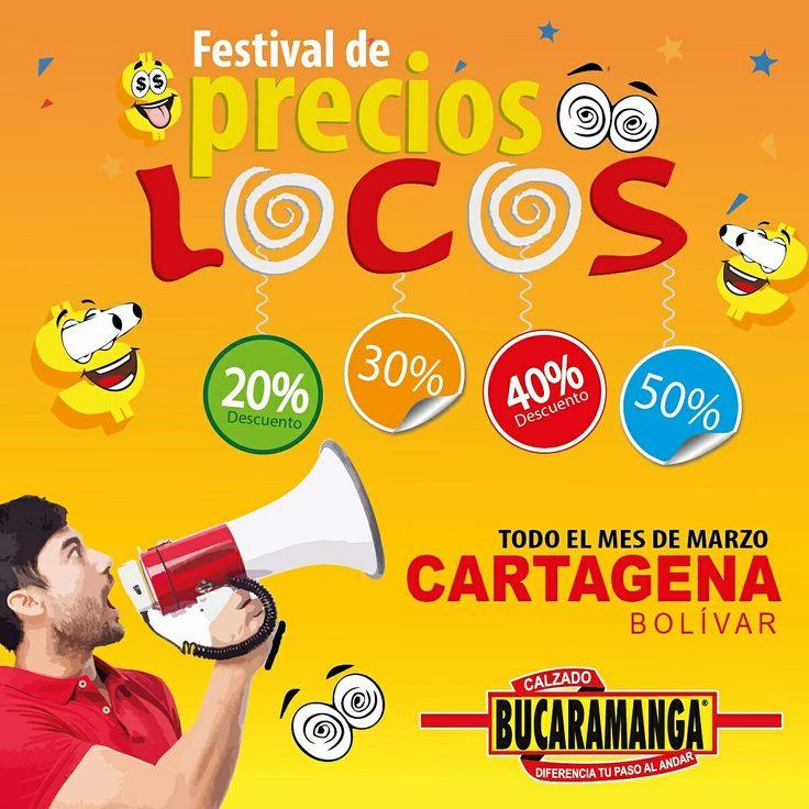 #Cartagena está en ¡Festival de Precios Locos! Durante todo el mes de Marzo en mercancía seleccionada. ¡Te esperamos!  www.calzadobucaramanga.com