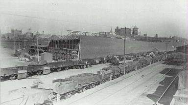 1911, Goods trains next to construction of the new fruit and vegetable market, Ultimo Rd, Hay and Quay Sts