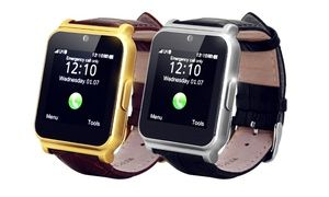 Groupon-Gutschein - W90 Smartwatch mit Lederarmband in Silber/Schwarz oder Gold/Braun inkl. Versand (71% sparen*). Groupon-Deal-Preis: 34,90€