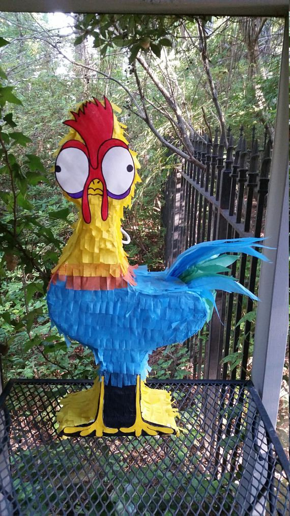 Heihei Pinata, Heihei Piñata  Measures 22 in height, 10 in length and 4 in width.  Hand drawn and crafted piñata. Made to order. May hold about 3-5 pounds of candy. All pinatas can be customised to be pull string at request. Simply message shop or leave a note with your order of your request.  Shipping: Recommended ordering of 4 weeks prior to an event. If pinata is needed by a sooner date the shop will be more than happy to accommodate! Pinatas are made in a timely manner and will be…