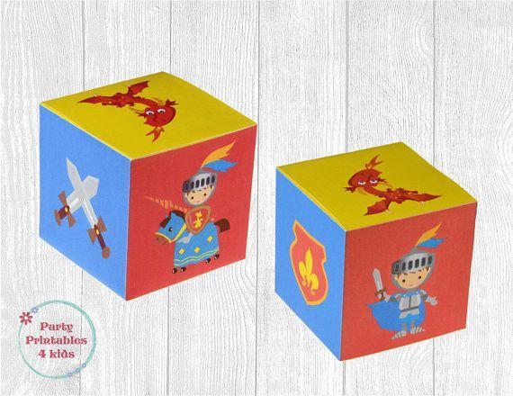Knights party Favor Box Treat Box DIY Gift Box Printable
