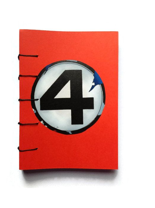 Fantastic FOUR logo coptic journal hand bound with Black stitching RED 192 plain white pages unique Retro comic book gift Super Hero fan - pinned by pin4etsy.com