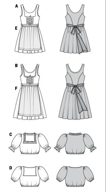Bavarian/Austrian Dirndl - burda pattern. These are for grownups but make nice dirndls also for girls