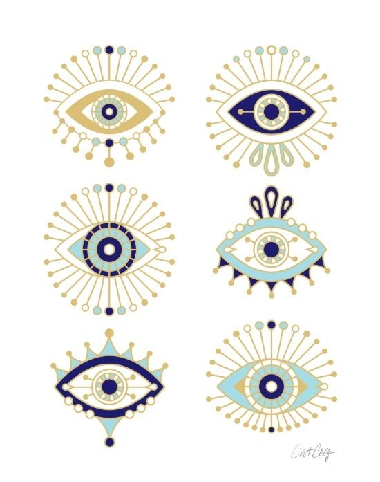Evil Eye Collection on White Art Print. Cat Coquillette.                                                                                                                                                                                 More