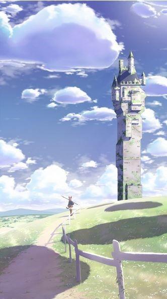 .____ORIGINAL VERSION ____ castle, keep, tower ,anime ,landscape ,manga ,art ,fantasy ,temple, sky, clouds.