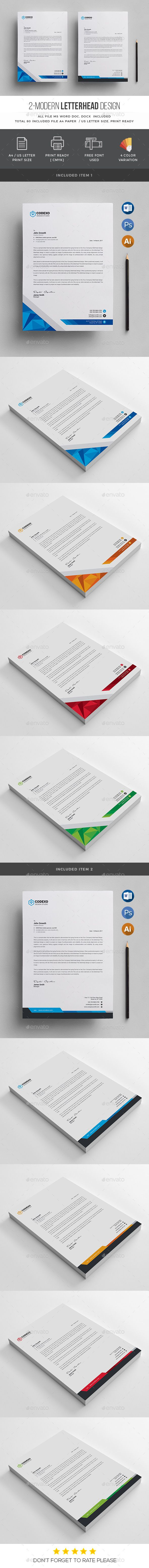 Modern Letterhead Template PSD, Vector EPS, AI Illustrator, MS Word