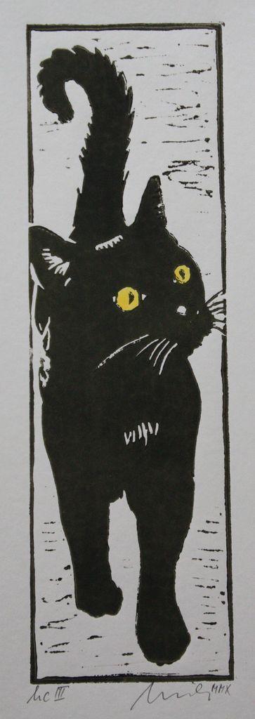 Junge schwarze Katze, Augen sind handkoloriert