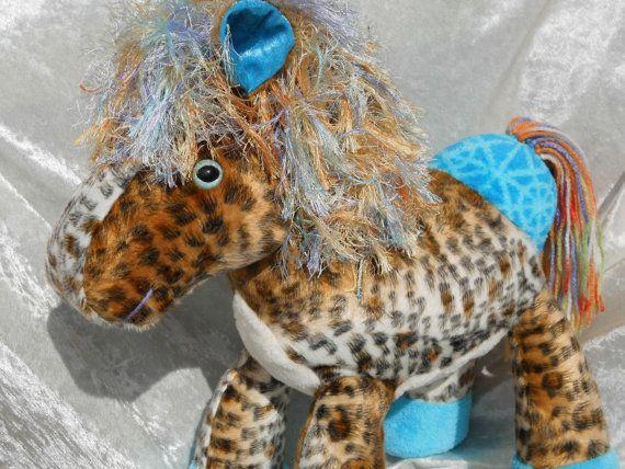 WildGolden BeachBum Pony  Leopard sandy Horse stuffed animal Home Decor or Soft toy handmade by TALLhappyCOLORS on Etsy