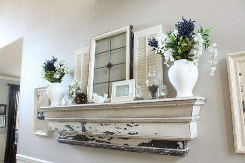 A perfect Springtime mantle. So fresh looking.: Mantles Decor, Decor Ideas, Mantel Decor, Shabby Chic, Fireplaces, Shelves Above Couch, Old Window, Summer Decor, Distressed Mantles