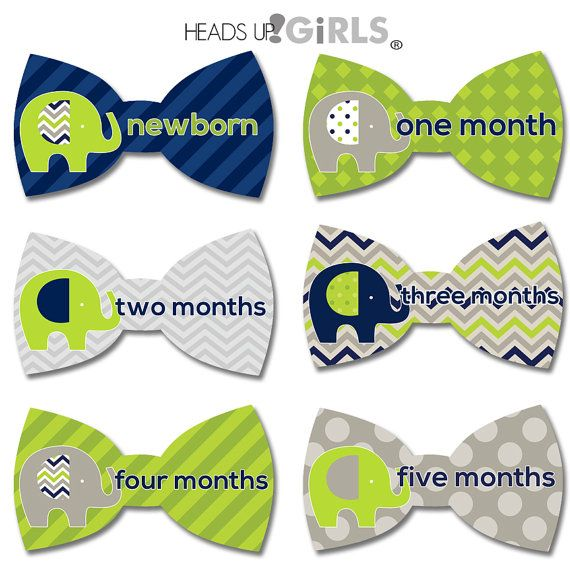 Bowtie Monthly Onesie Stickers with Elephants in Navy Blue, Lime Green and Gray Photo Props for Baby Boys - Set of 18 Stickers by HeadsUpGirlsBaby, $12.00