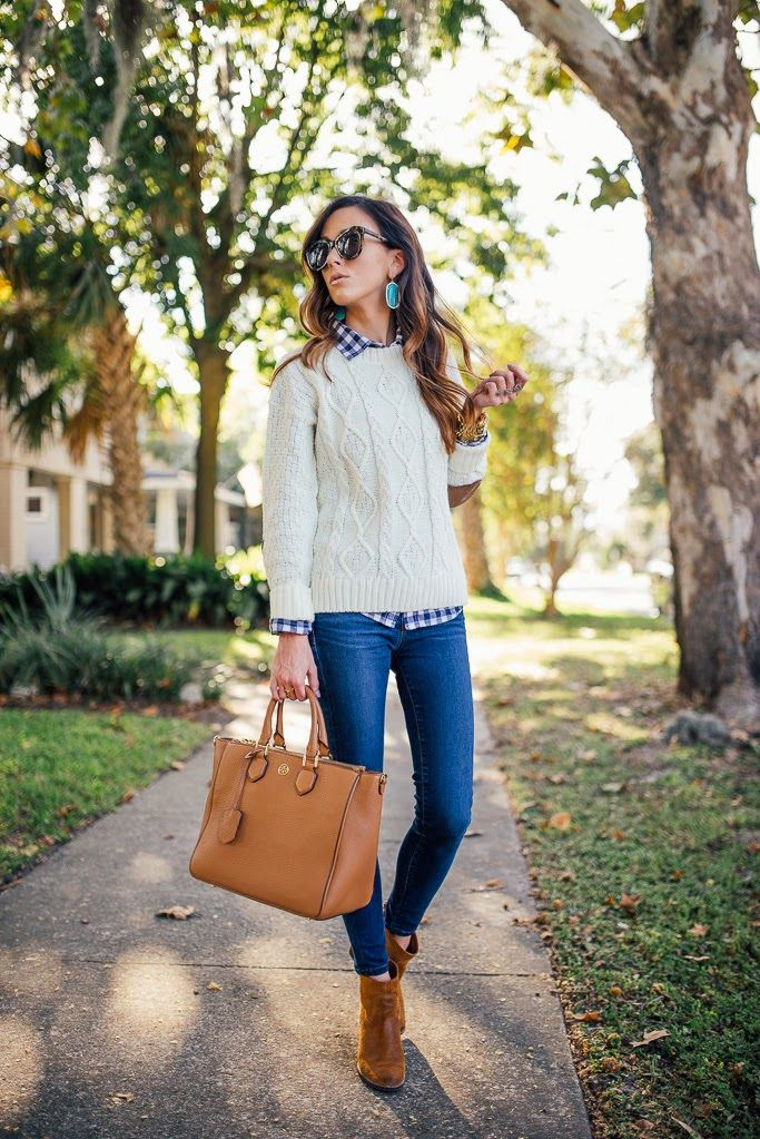 Kendra scott, gingham shirt under sweater with blue jeans