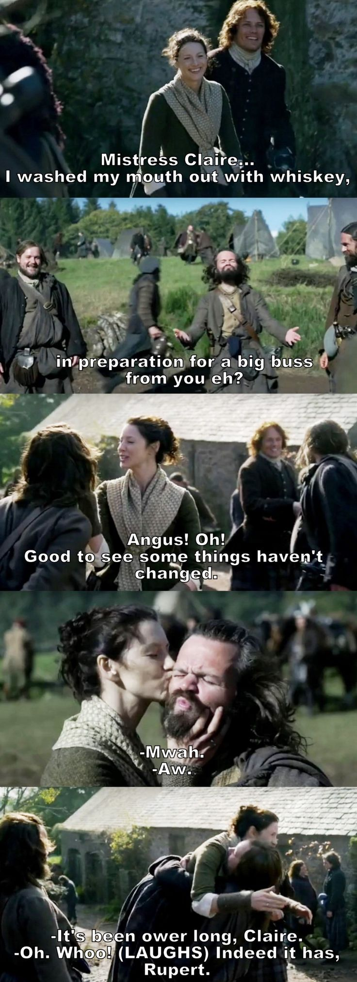 """Angus! Good to see some things haven't changed"" - Claire, Jamie, Angus and Rupert #Outlander"