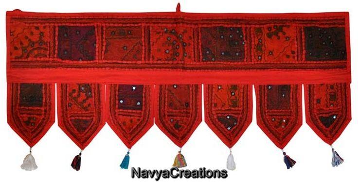 Handmade Toran Embroidered Vintage Door Topper Indian Home Decor Hanging Valance