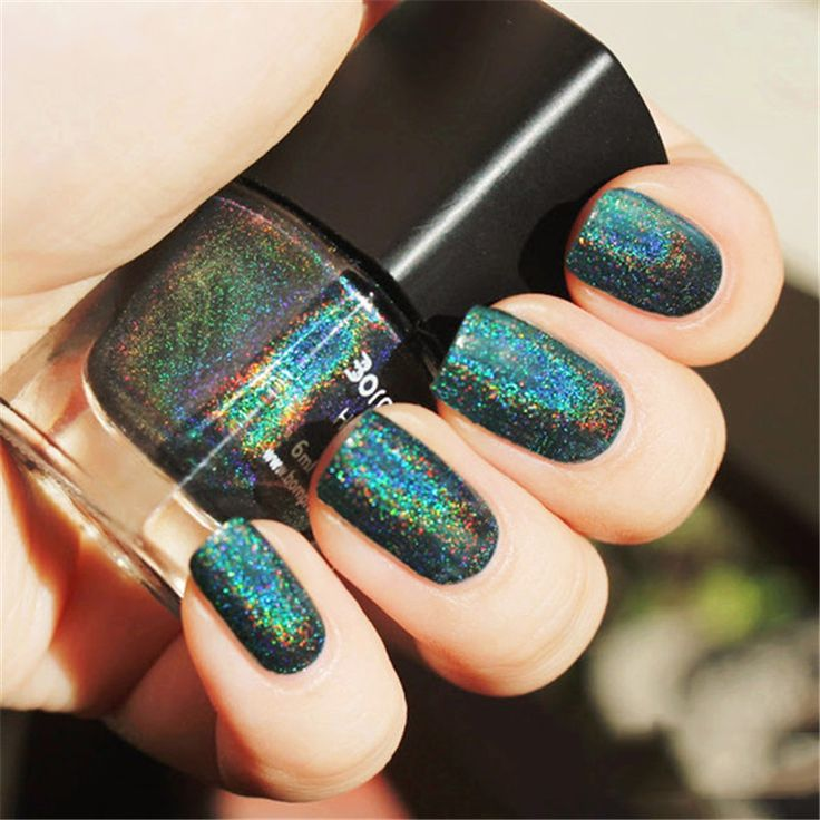 Born Pretty Dark Green Holo Glitter Nail Polish Holographic  Varnish Hologram Effect Nail Lacquer 12#