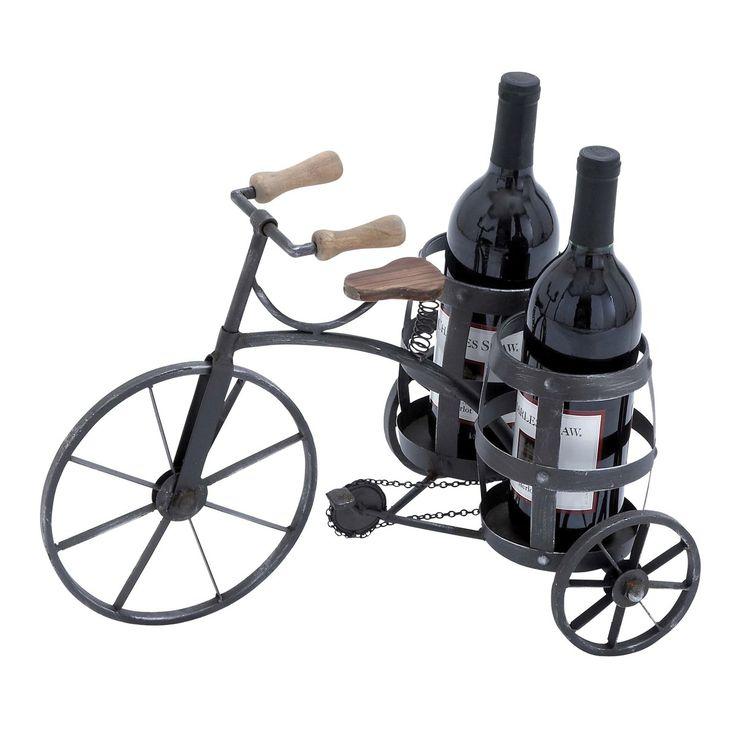 porta botellas de metal negro en forma de triciclo antiguo