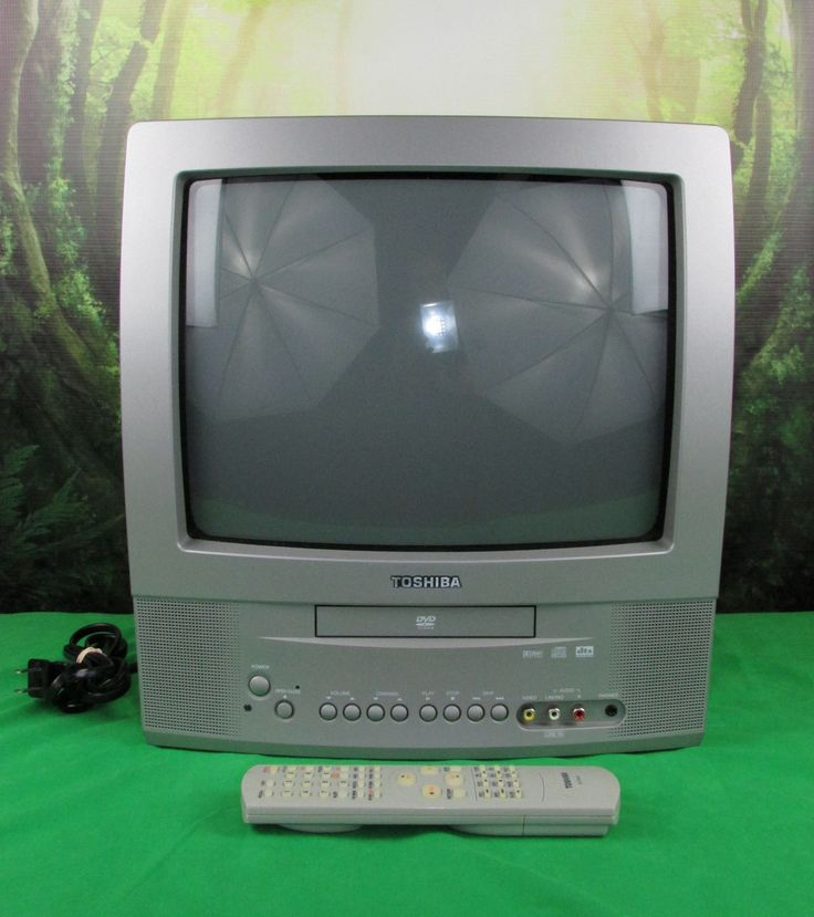 TOSHIBA MD13N3 13 CRT TV Color Built-in DVD Video Player Combo Silver Remote