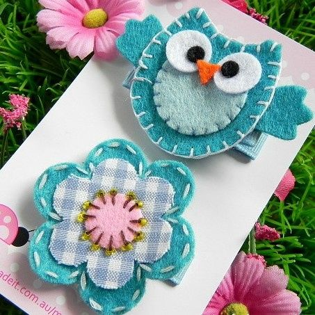 2 x Toddler/girl hair clips - Aqua Owl