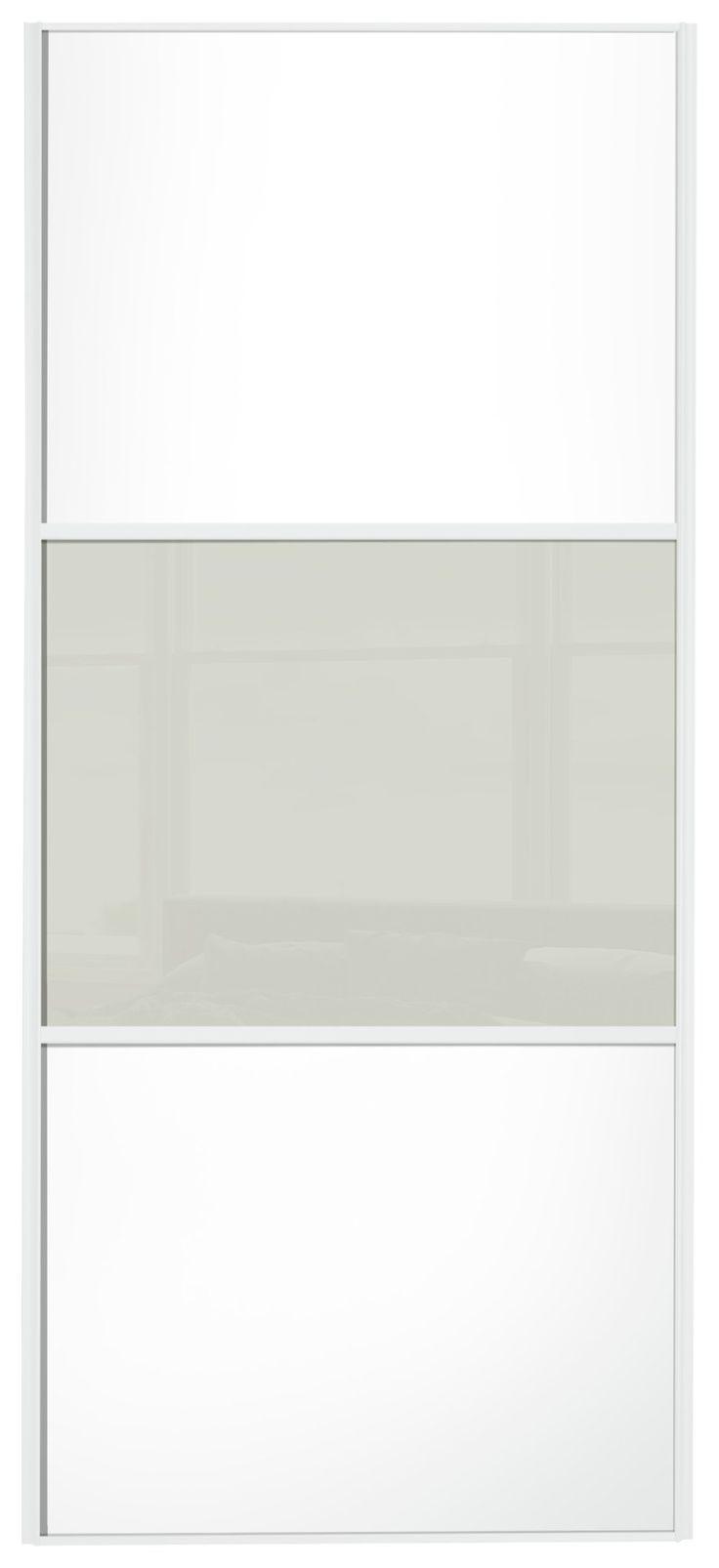 Sliding door s800 - Nice Sliding Wardrobe Door W610mm 3 Panel White Soft White Glass