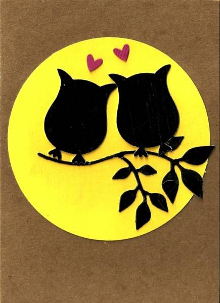 Owls Silhouette - pic only. Great card/scrapbooking idea for Valentines Day