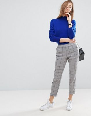 ASOS Cigarette Trousers in Grid Check