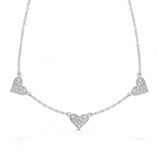 Sterling Silver Triple Heart Charm Necklace 16in