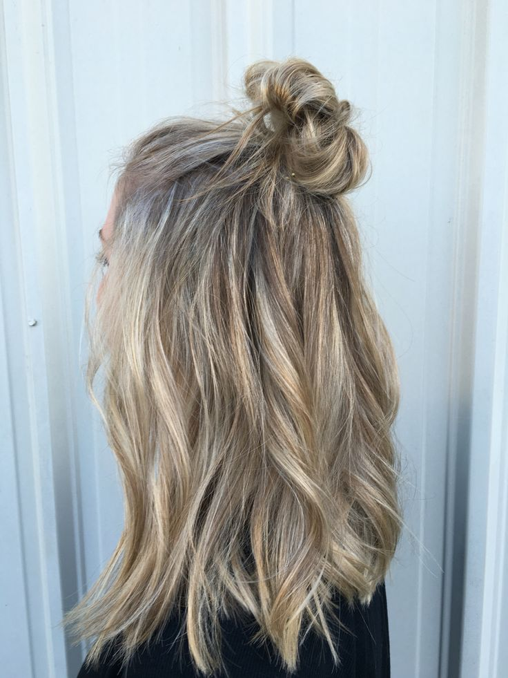 Bright blonde balayge with top knot