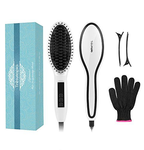 Ceramic Hair Straightening Brush Trèsutopia Lepunzel Mch Fast Heated Hair Brush Hair Straightener Hot Brush Comb With Anti-scald Glove And 2 Hairpins Temperature Lock Function