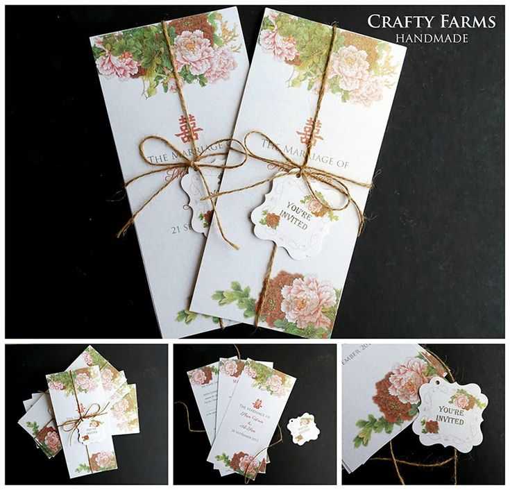 chinese wedding invitation card in malaysia%0A This vintage Chinese themed handmade wedding card with printed peonies is  embellished with brown twine and is suitable for oriental Chi