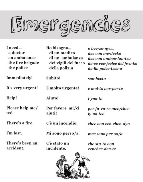 Emergencies in Italian from http://nativeitalian.tumblr.com