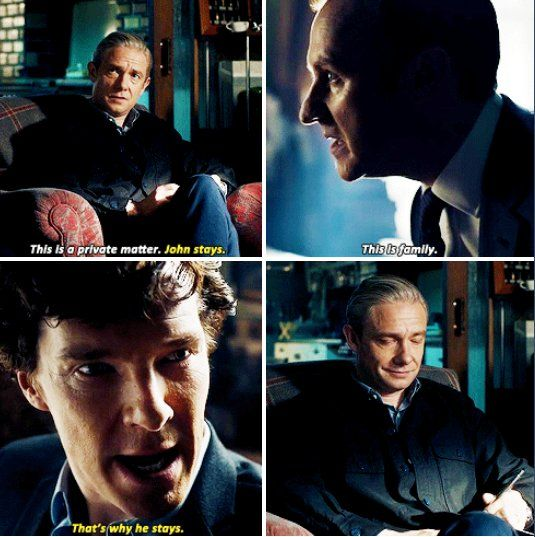 "This moment!!!! The Final Problem<<< Yeah ! I love the satisfaction on John's face, like ""Yeah I'm family! You hear that Mycroft!"""