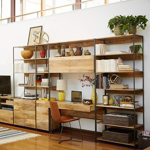 "Max Office -- West Elm Industrial Modular 49"" Desk http://www.westelm.com/products/rustic-modular-48-desk-h967/?cm_src=rel"