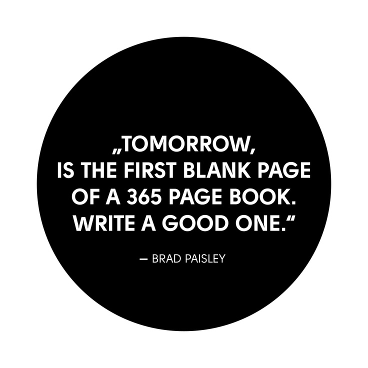 """Tomorrow, is the first blank page of a 365 page book. Write a good one."""